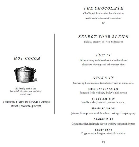 Park Chocolate Bar Menu