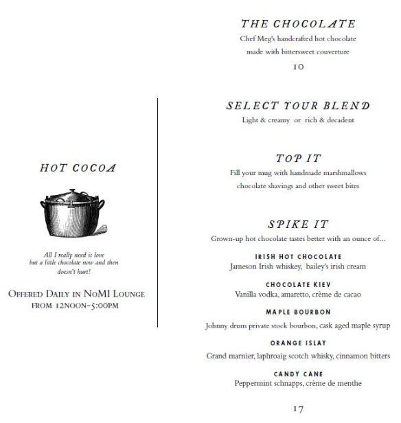 Park Chocolate Bar Menu